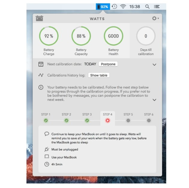 Calibrate a MacBooks battery with Watts app