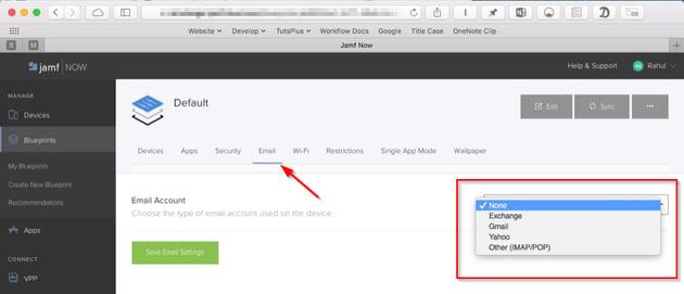 Jamf Now email configuration setup