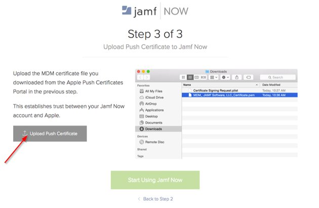 Upload the Apple Certificate to Jamf Now to confirm authorisation