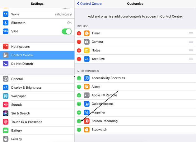 enable screen recording in the control center