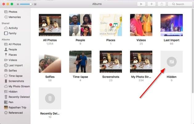 hidden album in the photos app