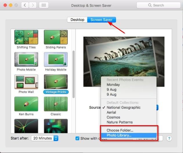 set photos as a screensaver