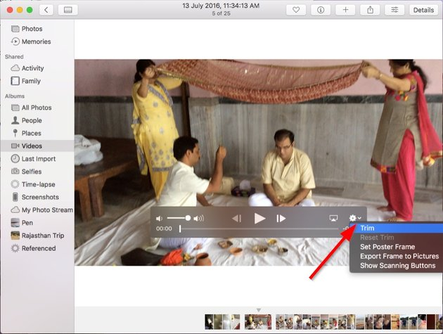 trim video in the photos app in macOS