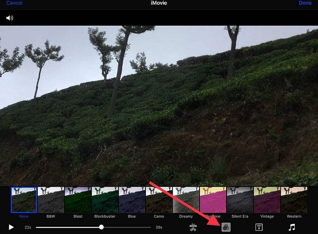 add a filter with iMovie