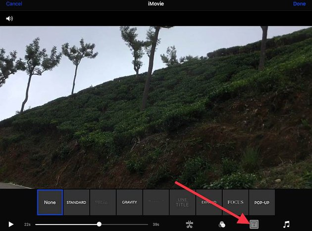 Add a title with iMovie for iOS