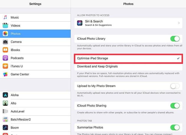 optimize photo storage on the iOS