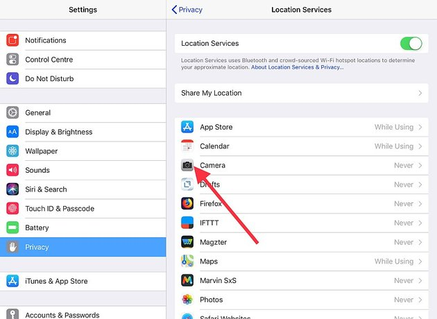 disable location services in camera app for iOS