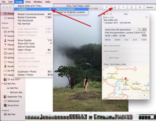 remove location metadata in Photos for Mac