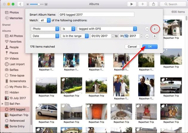 smart albums in photos app tagged with GPS