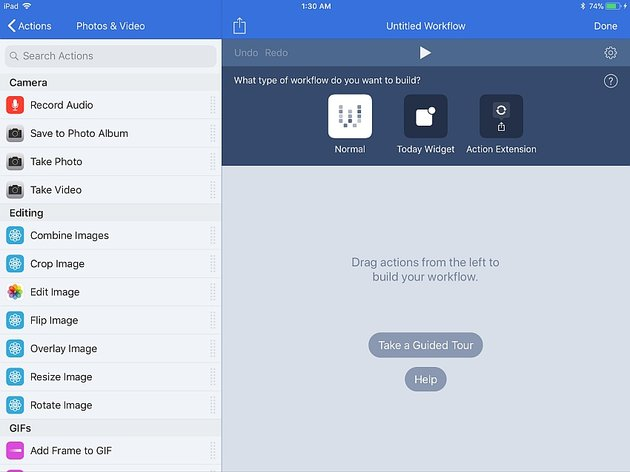 workflow app for iOS