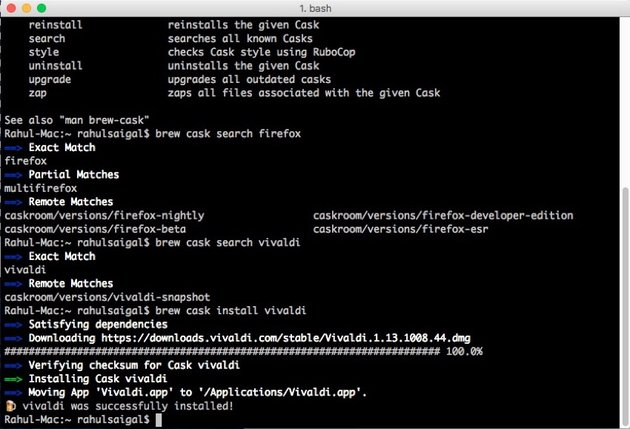 brew cask install command in iTerm