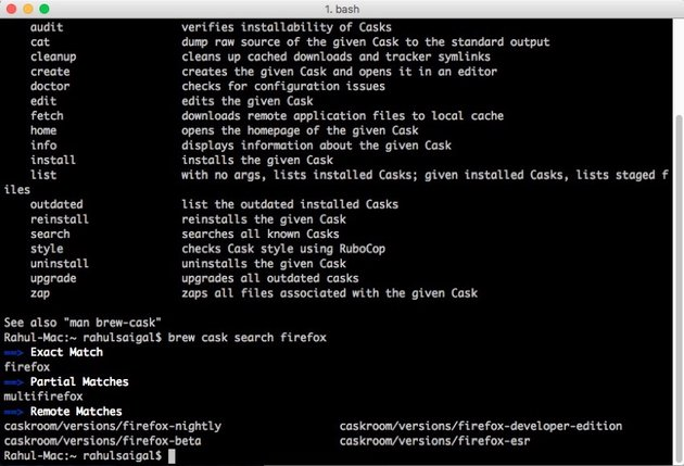 brew cask search command in iTerm