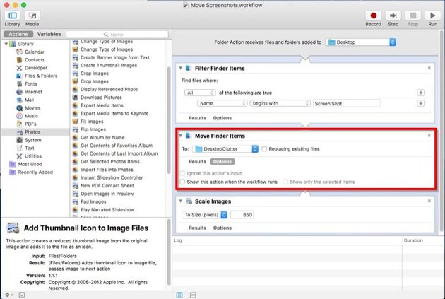folder action workflow in automator to move screenshots