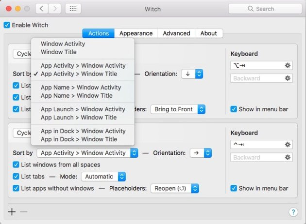 sort witch app switcher controls