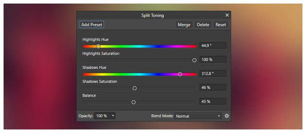 Split toning settings