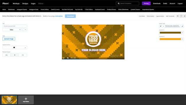 retro logo template video