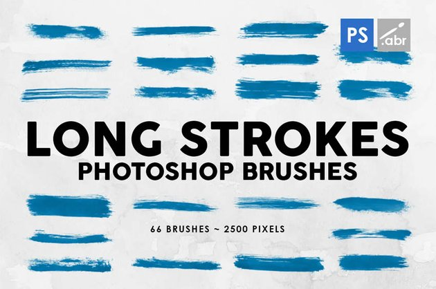 66 Long Ink Strokes Photoshop Stamp Brushes