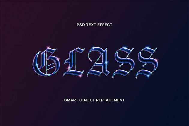 Holographic Glass Text Effect