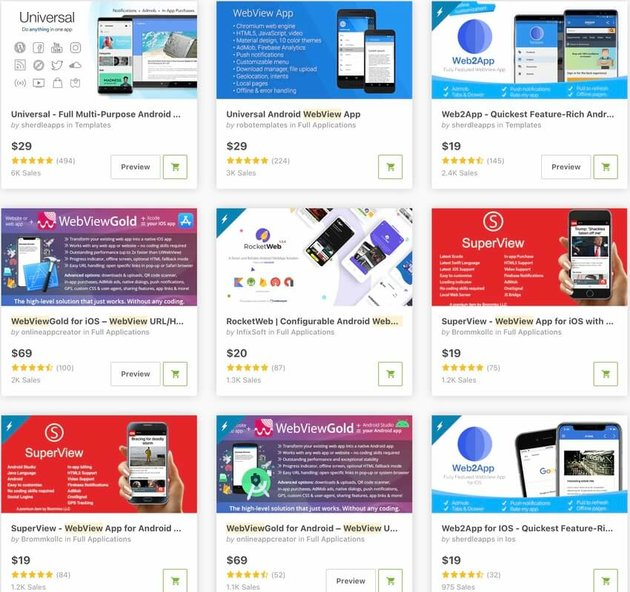 Top-Selling WebView App Templates on CodeCanyon in 2020