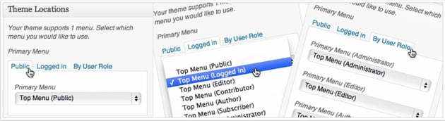 Menu by user role for WordPress