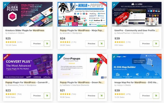 Topselling Popup plugins on CodeCanyon