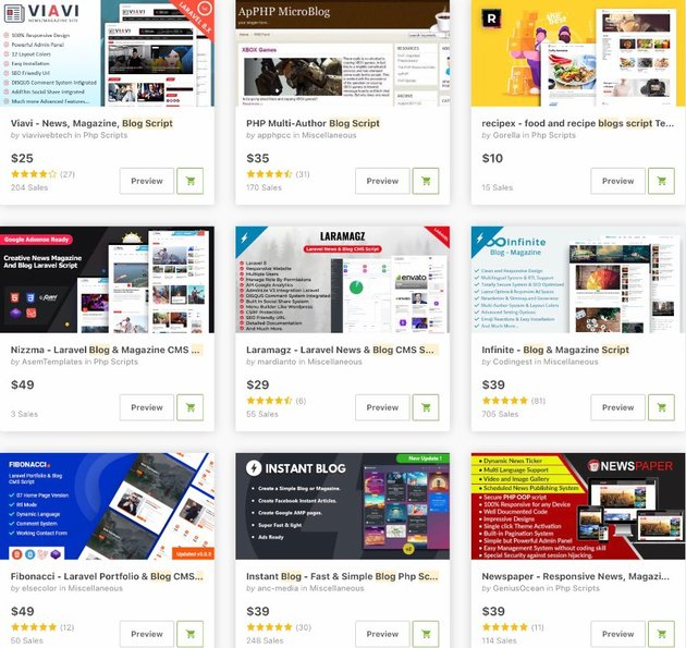 Topselling Blog PHP Scripts on CodeCanyon