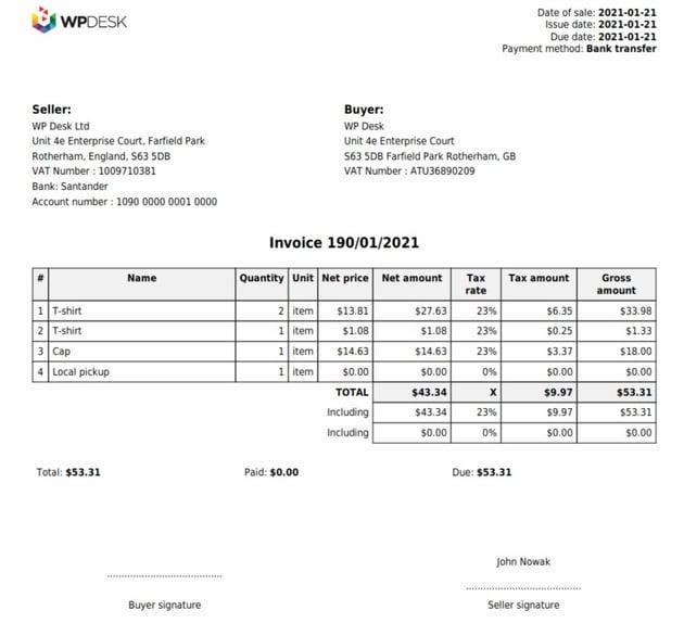 Flexible PDF Invoices for WooCommerce & WordPress