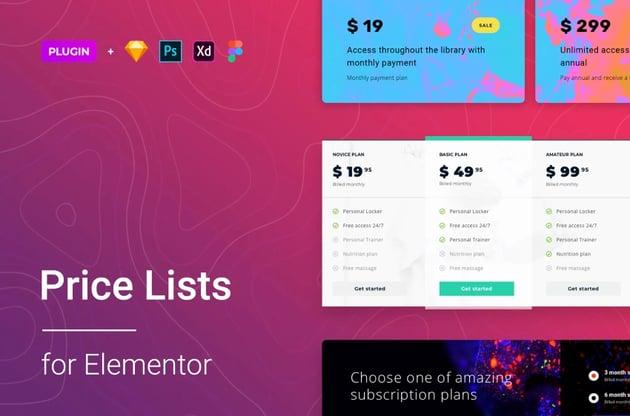 Price List for Elementor