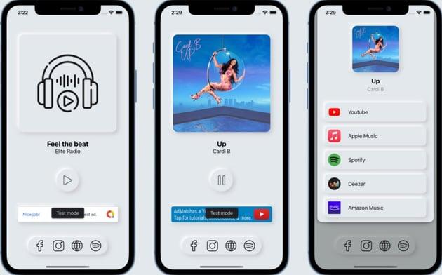 Elite Radio - Modern Neumorphism UI Radio App for iOS