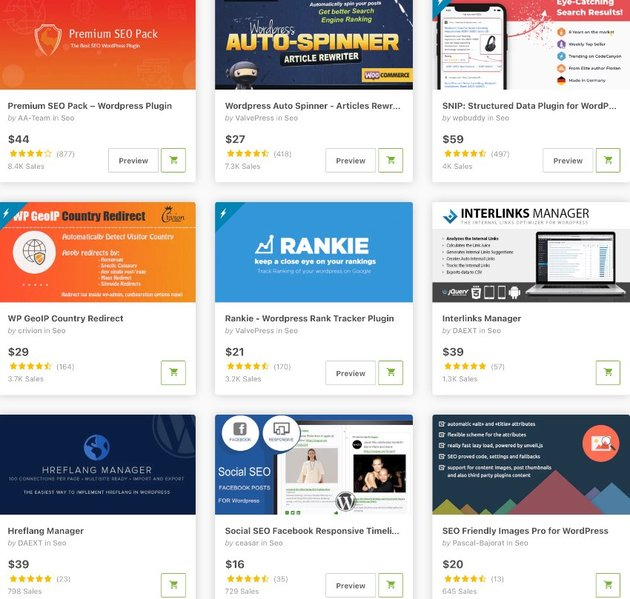 Topselling SEO Plugins on CodeCanyon