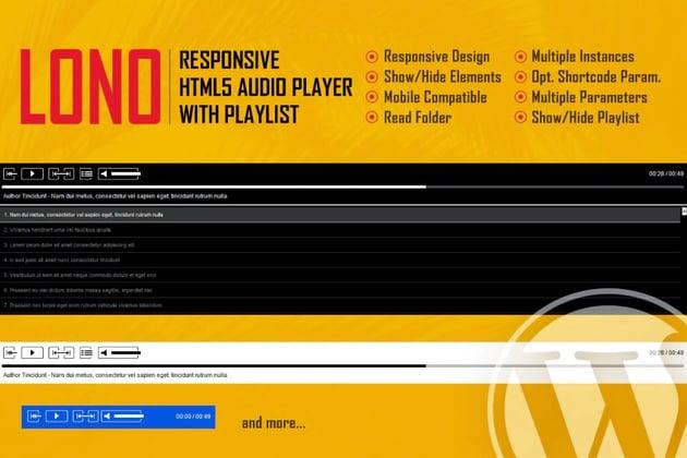 Lono - Plugin de reproductor de audio responsive, basado en HTML5 y con pistas de audio