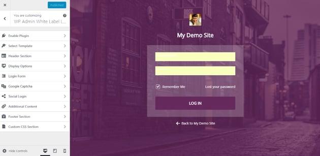 WP Admin White Label Login - WordPress Plugin For Advanced Customizable Login page