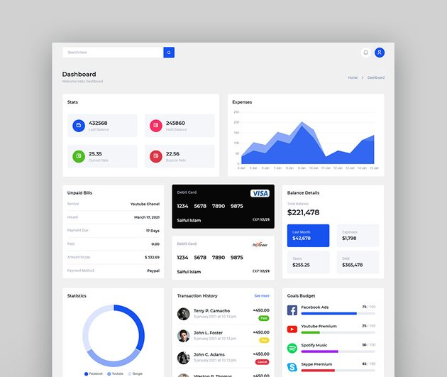 Intez - Bootstrap Online Payment Dashboard HTML Template