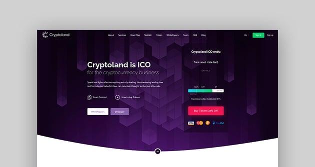 Crypto-land - Crypto Currency Landing Page WordPress Theme