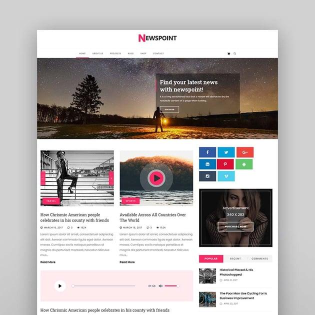 Newspoint - News, Magazine & Blogging HTML Template