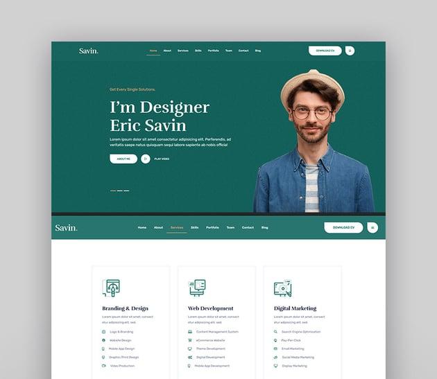 Savin - One Page Personal Portfolio HTML5 Template