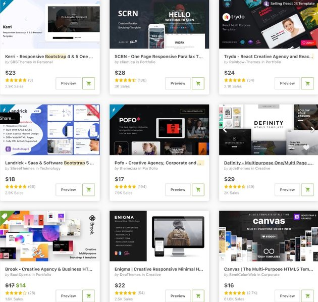 Bestselling Bootstrap portfolio templates