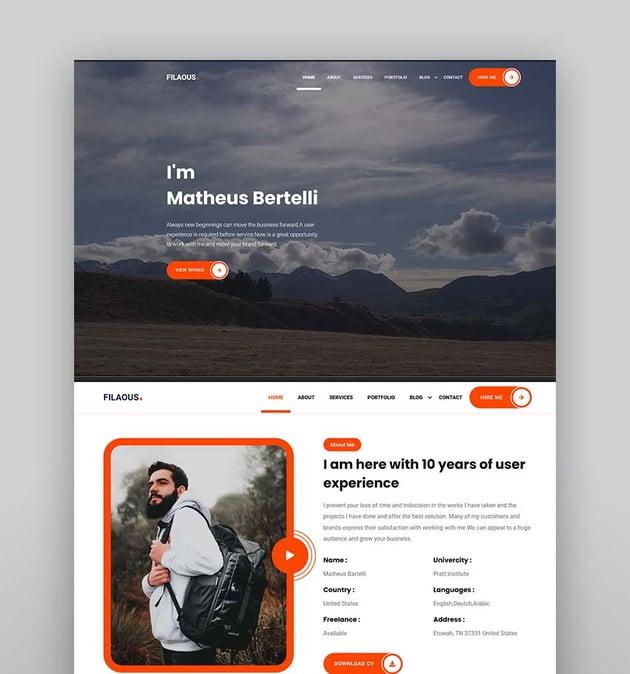 Filaous - Personal Portfolio HTML Template