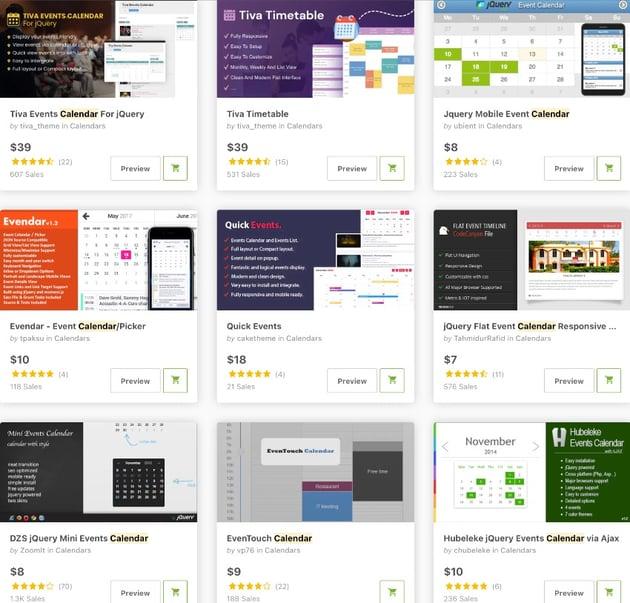 Topselling JavaScript Calendars on CodeCanyon