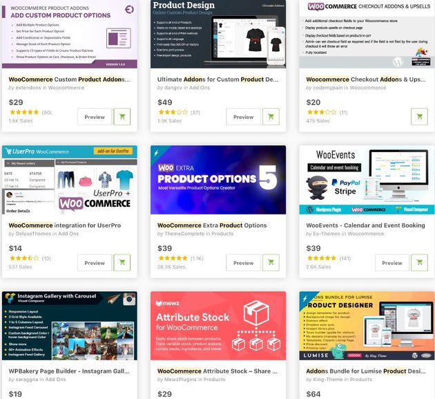 Topselling WooCommerce Product Add-Ons on CodeCanyon