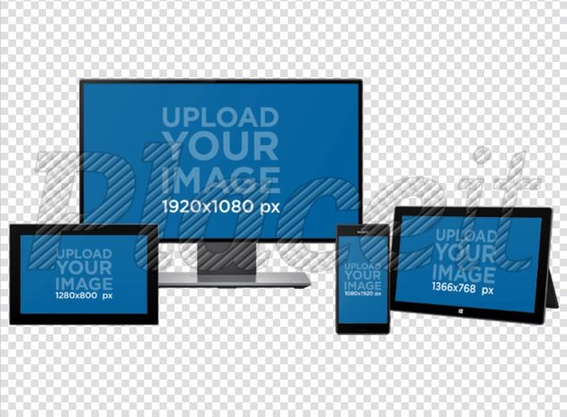 Multiple Device Mockup of a Monitor, Android Phone, MS Surface and an Android Tablet