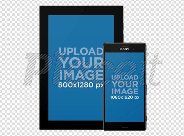 Android Galaxy Tablet with Android Phone Responsive Mockup Over a Transparent Background