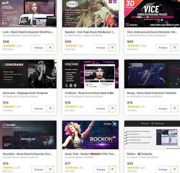 Topselling dj website templates on ThemeForest