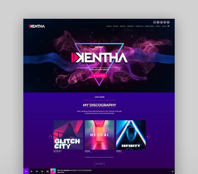 Kentha - Non-Stop Music WordPress Theme with Ajax