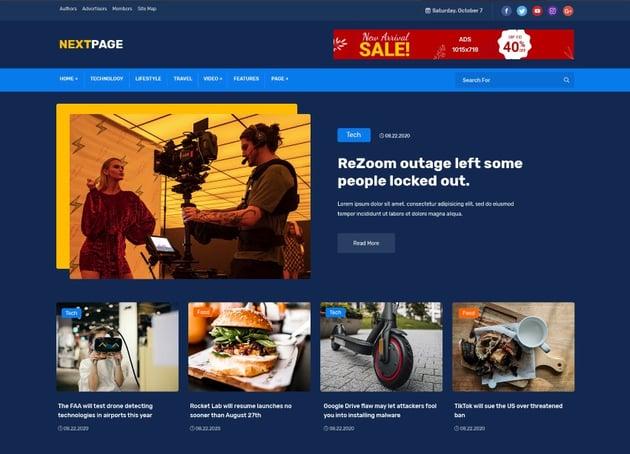 Nextpage - Newspaper, Magazine , Food HTML Template