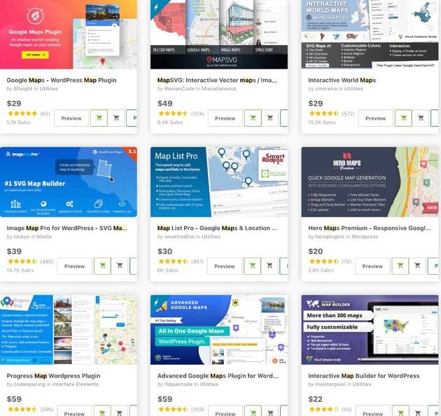 map WordPress plugins.