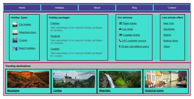 Flexbox megamenu template with aligned content