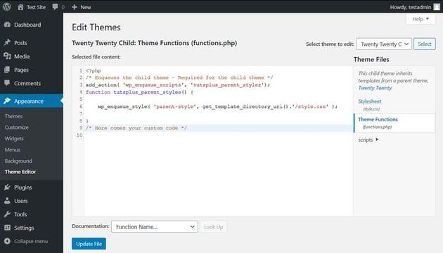 WordPress Admin Theme Editor