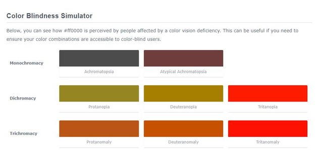 Color Blindness Simulator by ColorHexa