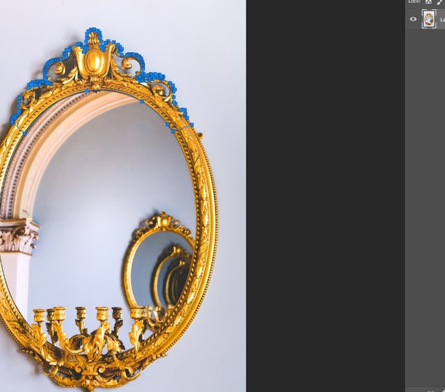 Cutting out the crown of the mirror